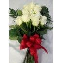 Dozen White Roses Wrapped