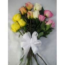Dozen Mixed Colored Roses Wrapped